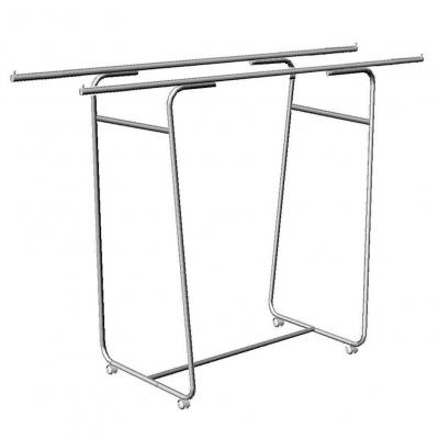 Вешало для одежды напольное двойное на колесах, хром (Арт.5M-02K)