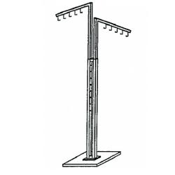 Вешало двухстороннее наклонное с 5-ю крючками, хром (Арт.R-703)