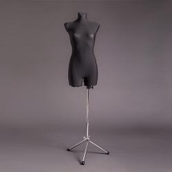 Манекен портняжный женский мягкий, чёрный/хром (Арт.D-3)