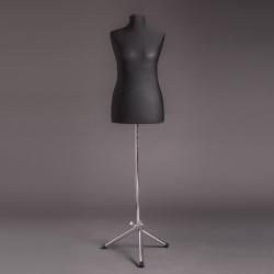 Манекен портняжный женский мягкий, чёрный/хром (Арт.D-6)
