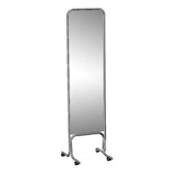 Зеркало примерочное напольное на колесах, хром