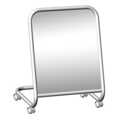 Зеркало малое примерочное напольное на колесах, хром